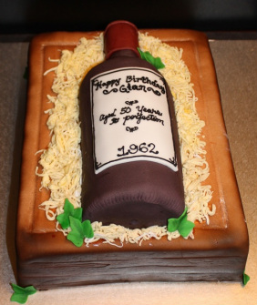 This Wine Box And Bottle Cake Was For Gians 50th Birthday Party The Is Red Velvet With A Cream Cheese Filling Covered In Fondant I